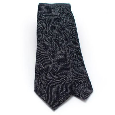 Japanese Indigo Tidal Wave Necktie-Available to ship 9/6