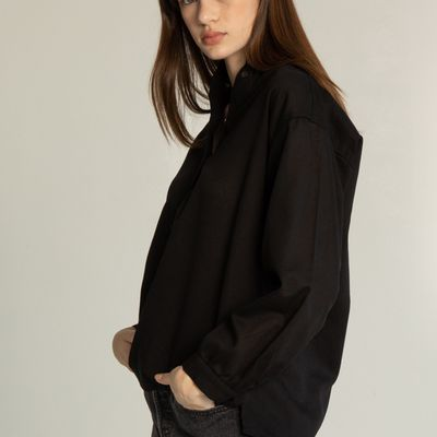 Band Collar Button Up Shirt