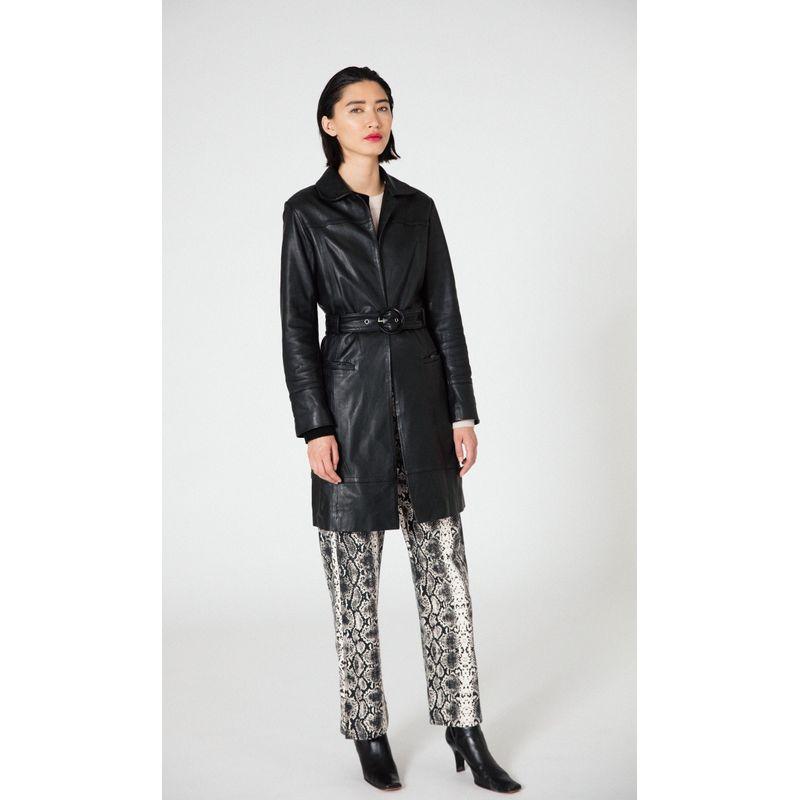 Ann Leather Coat Black