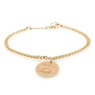 14k small mantra charm bracelet