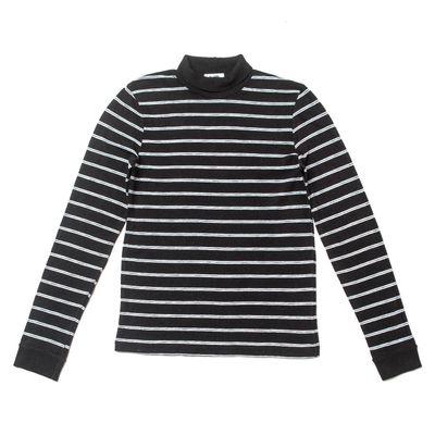 1960's Striped Slim Turtleneck - Black
