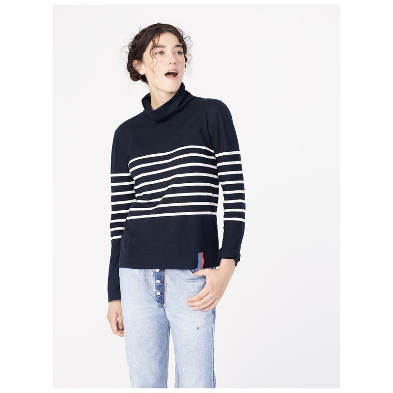 The Tissue Turtleneck - Navy/Poppy