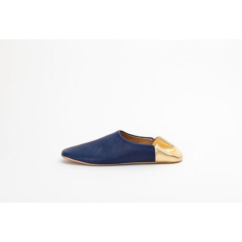 Indigo Blue & Gold Indoor Slippers