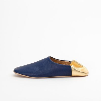 Indigo Blue & Gold Indoor Slippers