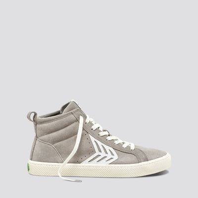 CATIBA High Cloud Grey Suede Ivory Logo Sneaker Women