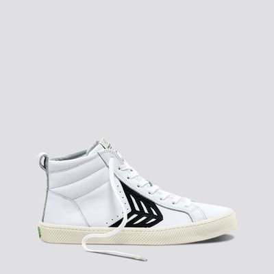 CATIBA High Off White Leather Black Logo Sneaker Women